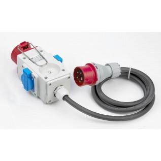 Forgrener 1 CEE 400V/16A til 2xDK230V+1XCEE400V m/kabel
